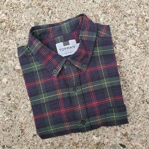 Topman Plaid Check Casual Button Down Large Shirt